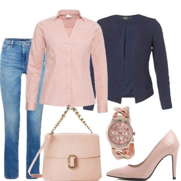 camicia rosa giacca blu scarpe