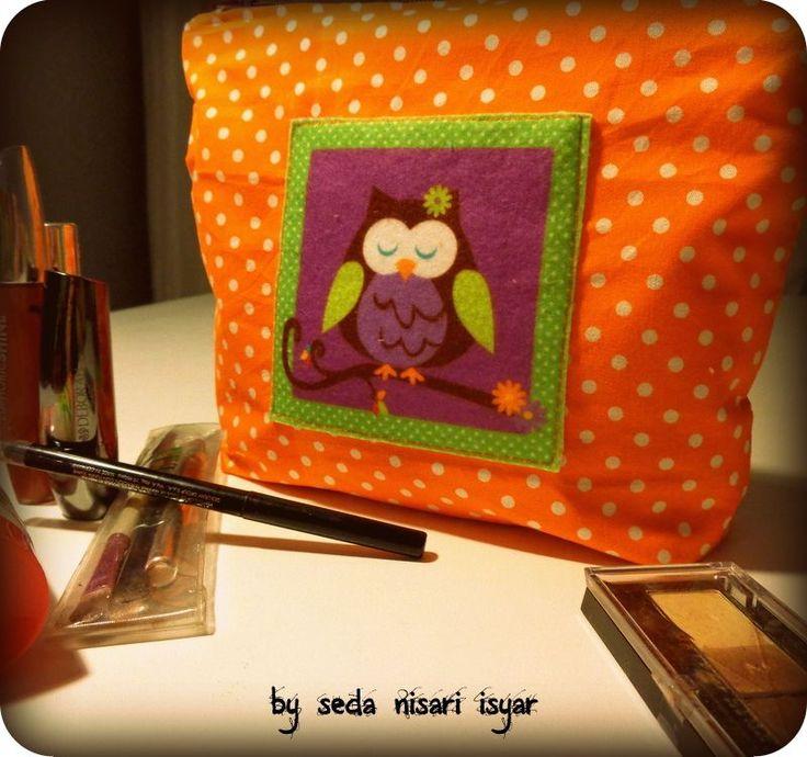 Baykuş aplikeli çanta, clutch,makyaj çantası Zet.com'da 35 TL