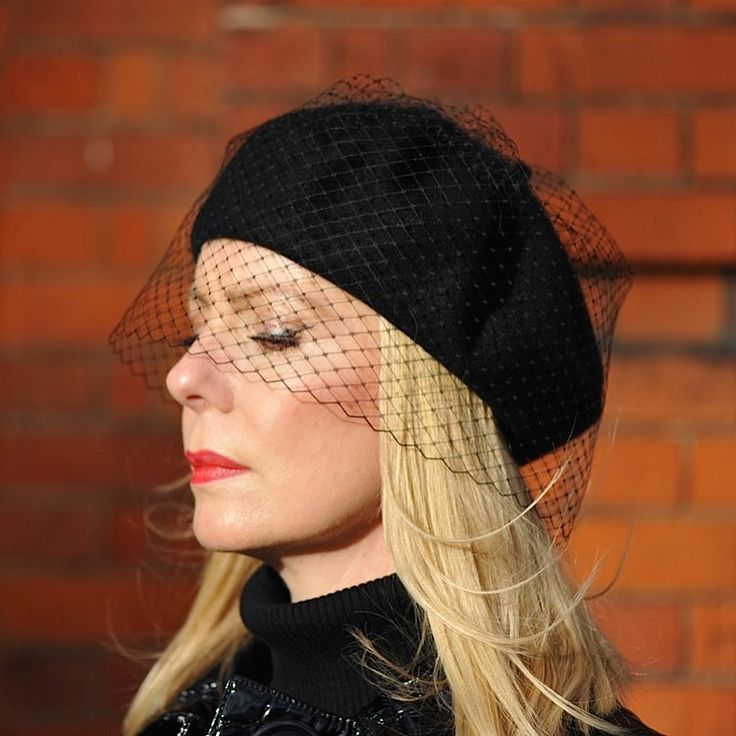 DIY black beret and veil. See Instagram photos and videos from The Sequinist (@thesequinist)