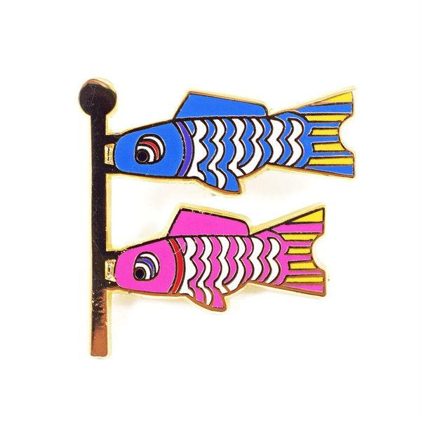 Fish Flag Emoji Pin - Valley Cruise Press