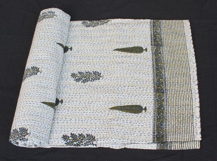 Indian Handmade Kantha Bedsheet 100% Cotton Bed Cover Queen size Blanket 0117 #Handmade #ArtsCraftsMissionStyle