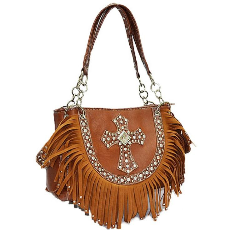 I absolutely ❤️ This handbag!  This bag won't disappoint!  Follow the link to get yours today! Western Brown Rhinestone Cross & Fringe HandbagPurse https://forevercountry.therusticshop.com/store/
