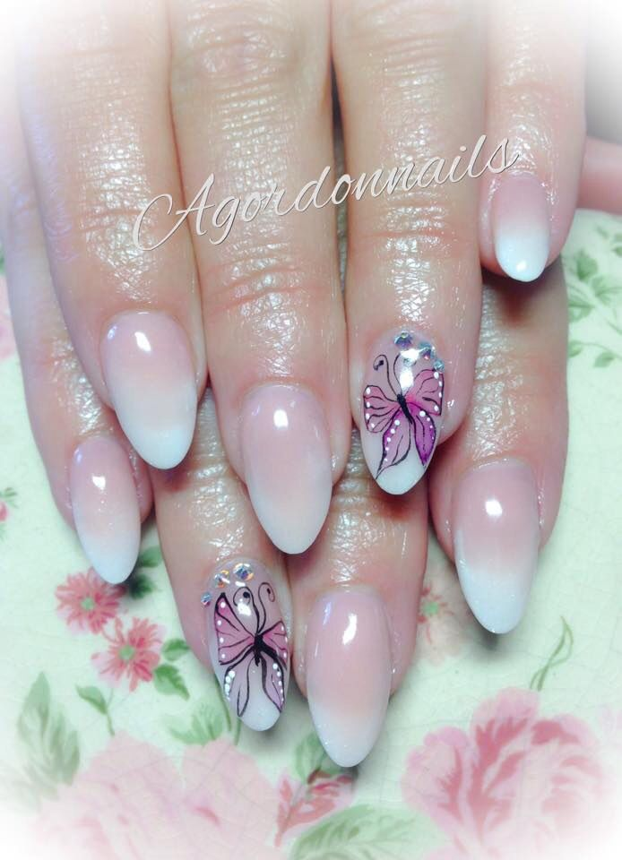 Sculpted Baby boomer acrylic nails with watercolour aquarelle butterflies @agordonnails