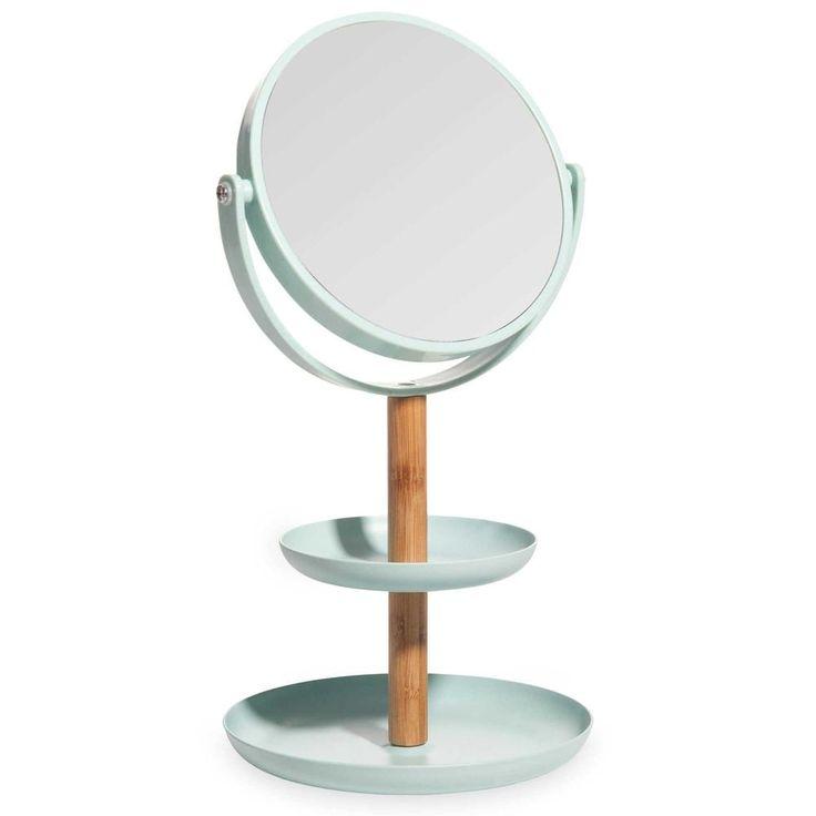 Copa para joyas con espejo de bambú y plástico azul FLORA