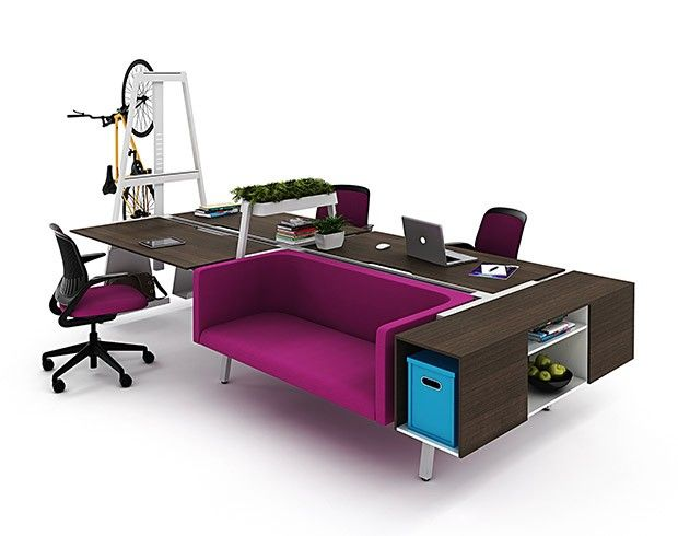 Putting 'Fun' In Functional - a different, and gorgeous, workstation concept. #officefurniture #desk