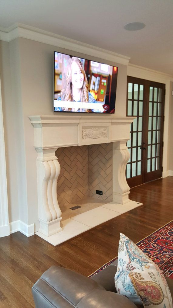 Cast Stone Fireplace mantel Traditional style custom made Limestone Great Living room office Mantel