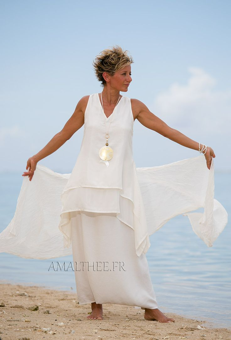 white pure silk tunic #wedding_party_outfit by AMALTHEE