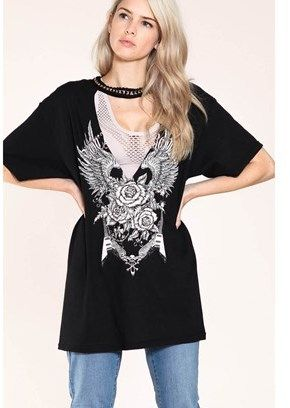 B-Sharp Collection Front & Chain Neck Line Detailed Round Neck Black Tunic.