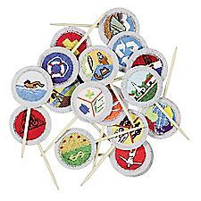 Use them to accent cakes, cupcakes, and other tasty treats. Festive full-color picks feature the designs of the 17 merit badges required to earn the rank of Eagle Scout—a different image on each pick.   Picks are 2½' tall; package of 17 pi