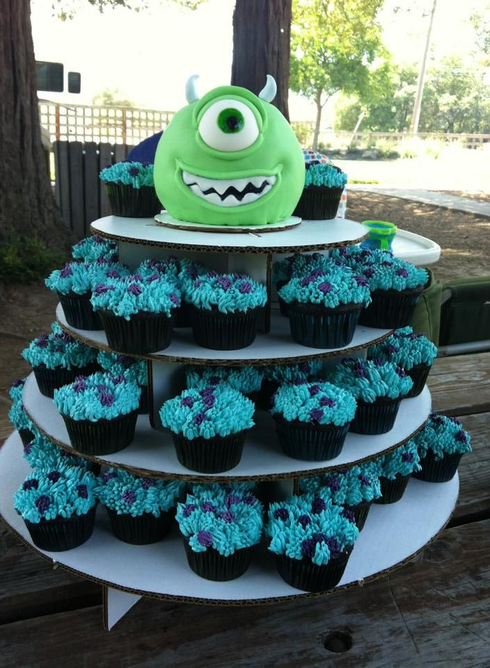 Monsters Inc. Mike cake & Sully cupcakes I made for my son's 1st Birthday Party, June 30, 2013