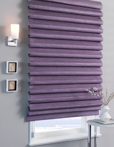 "Pleated Roman Shade by The Shade Store. $355.00. Order Free Samples & Catalog!. Custom-sewn with uniform, hobbled folds spaced 4""-5"" apart, this Pleated Roman Shade has extra body and produces a dramatic, cascading effect. When raised, folds form and stack neatly on top of one another."