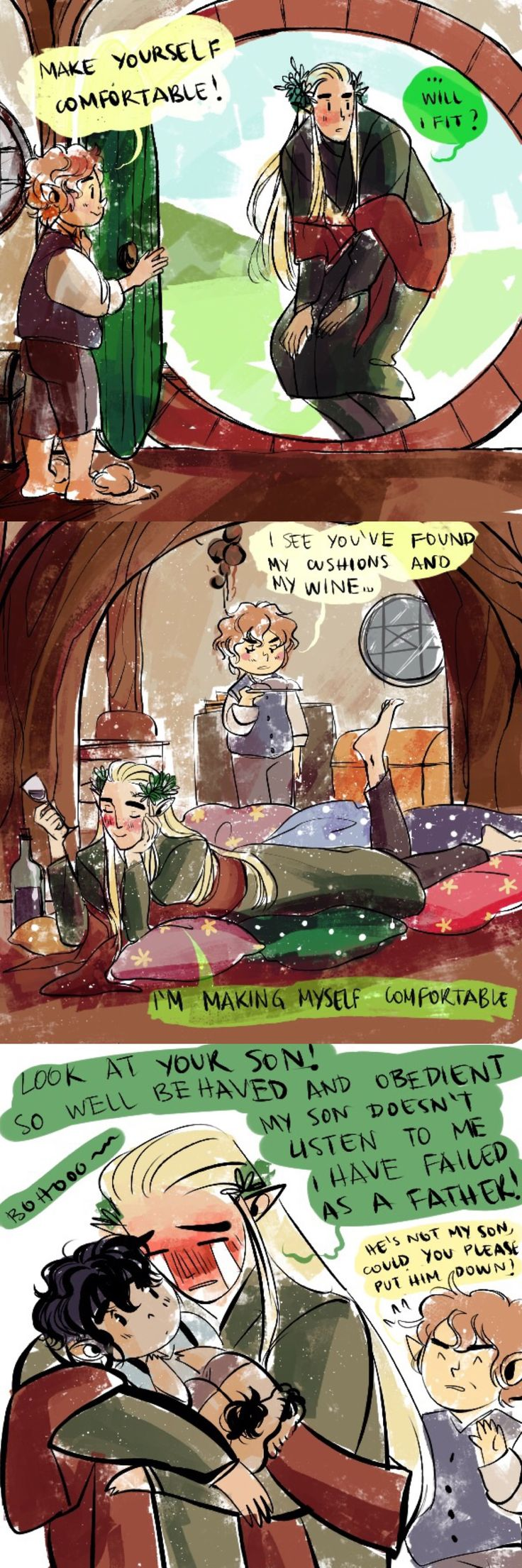 Thranduil visiting Bilbo in the Shire, being a too comfortable guest and an emotional drunk.
