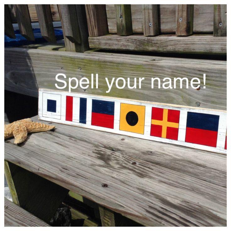 Nautical Sign Custom Code Flags Beach Coastal Decor Nautical Nursery by justbeachyshop on Etsy https://www.etsy.com/listing/104719668/nautical-sign-custom-code-flags-beach