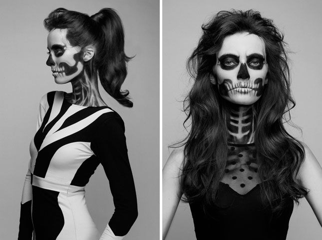 Serious Skeleton Makeup: Going for a more serious skeleton? Let this beautiful pictorial serve as inspiration, and be sure to by lots and lots of white and black face paint.