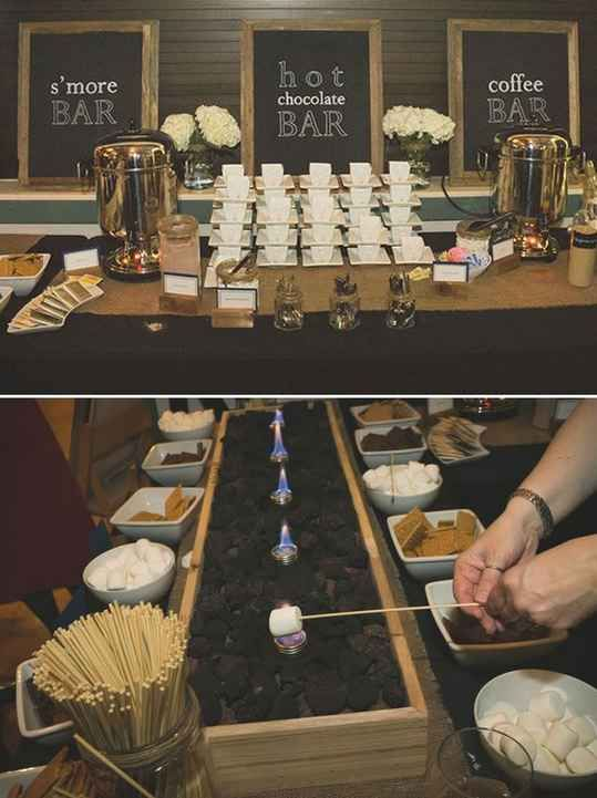 Or a s'mores bar with coffee and hot cocoa to warm up at winter ones: