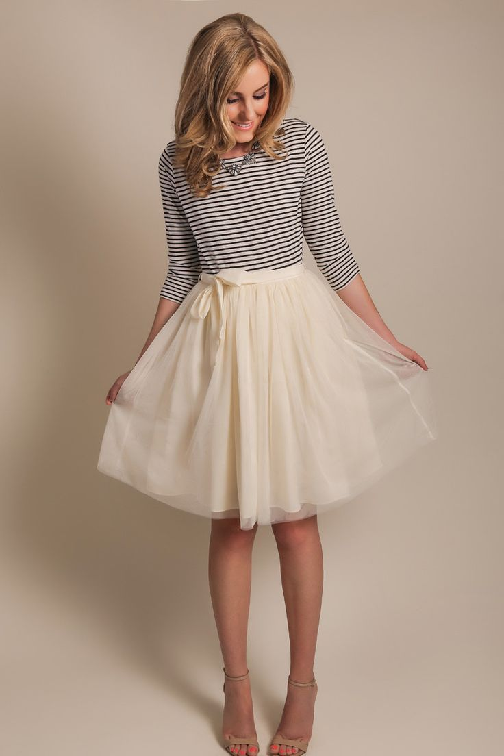 striped blouse w/ a tulle + chiffon skirt for a girly work look | Skirt the Ceiling | skirttheceiling.com