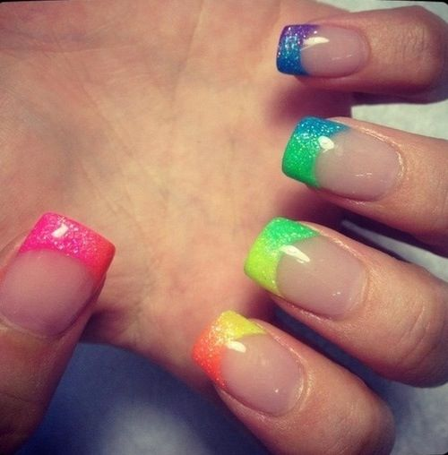 French, neon AND glitter! :D