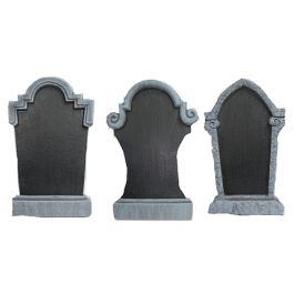 Give the ghouls and ghosts a place to play with an epic homemade graveyard! The Chalkboard Tombstones are headstones made of chalkboard material and bordered in various classic tombstone designs. Write whatever you want on the chalkboard portion of the headstone, from RIP to a person's name or a scary Halloween message. Order will include one of the three assorted designs. each measuring 22 inches in height.<br />