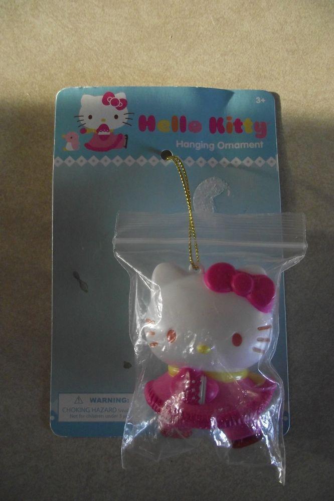 Hello Kitty Hanging Ornament Christmas Pink Ribbon Cat Kids Brand