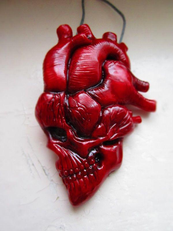 Грядет Розовый День... сердце, череп, анатомия, День святого валентина, полимерная глина, Nooboslowpokopanda, длиннопост