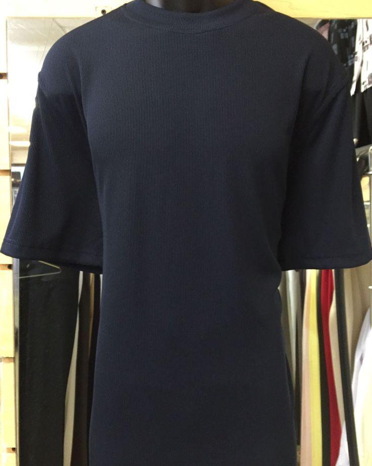 Log-In Uomo Casual Dressy T-Shirt Men's Navy Crew Neck Corded Short Sleeve S-4XL  | eBay