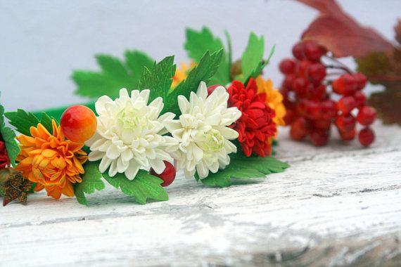 Chrysanthemum hair wreath Fall wedding 52$