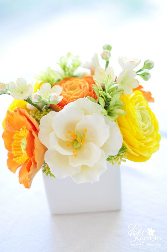 COUTURE CLAY - Fall Floral Arrangement in White Ceramic Vase
