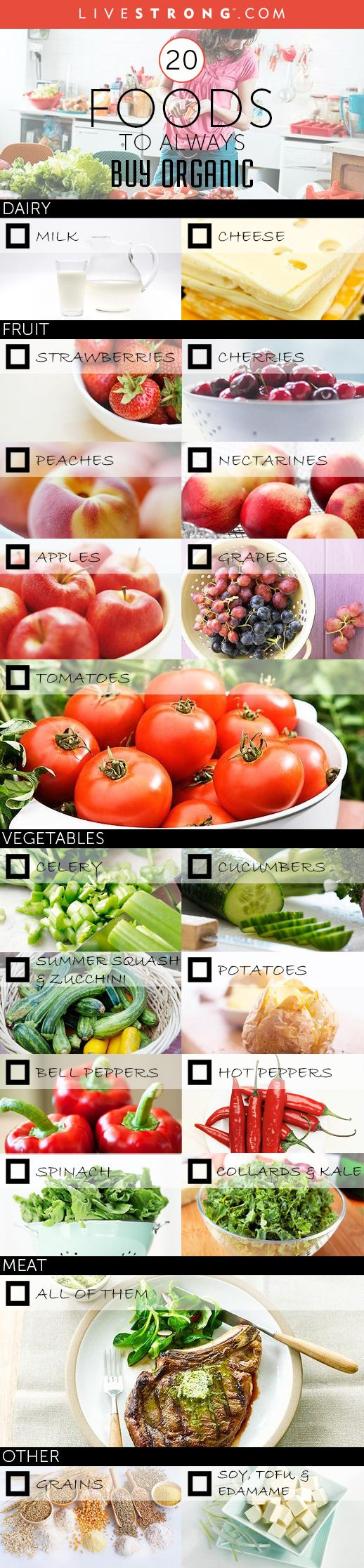 20 Foods to Always Buy Organic (Even If You're On a Budget!)  http://www.livestrong.com/slideshow/1004202-20-foods-always-buy-organic-even-youre-budget/