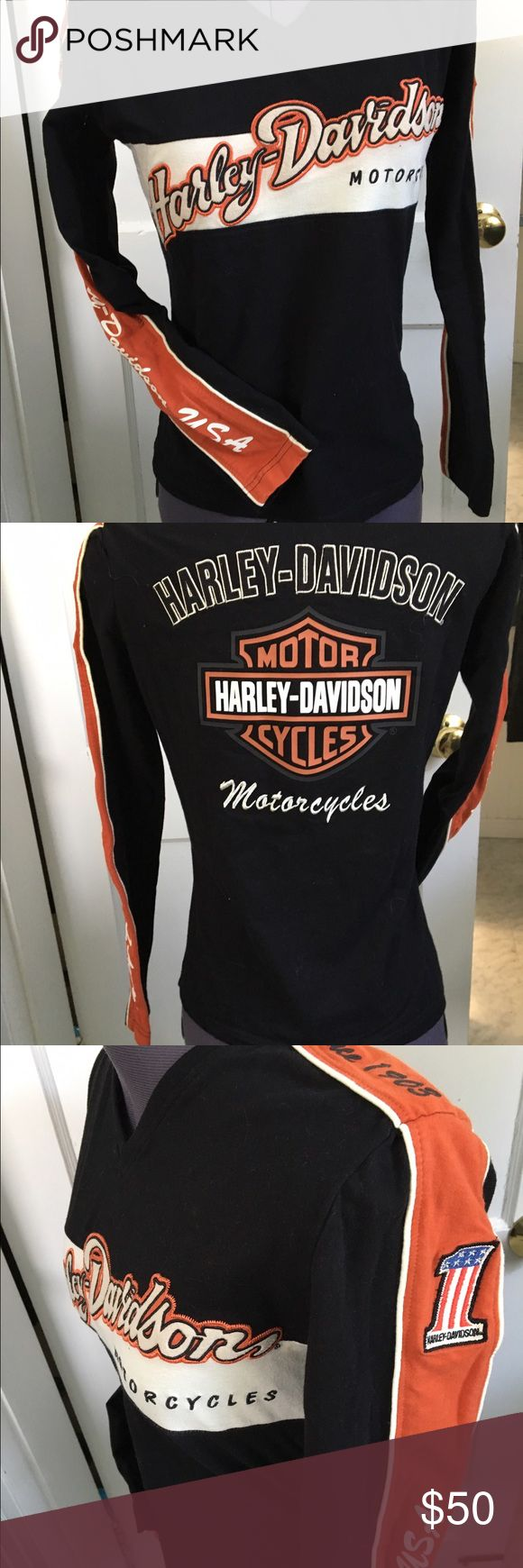 """Harley davidson long sleeve jersey Genuine harley davison, 92 cotton & 8 lycra to give this lots of stretch, name patch embroidered on front & back, woman's size small, measures bust 34"""" at waist aprox 30"""" & 23"""" long, nice heavy dense knit, Harley-Davidson Tops Tees - Long Sleeve"""