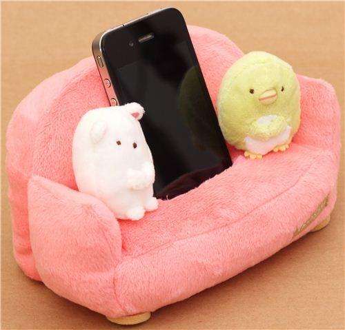 pink Sumikkogurashi plush cellphone holder sofa bear penguin