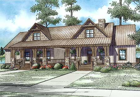 Plan 60645nd craftsman duplex with breezeway the two - Stone house designs and floor plans ...
