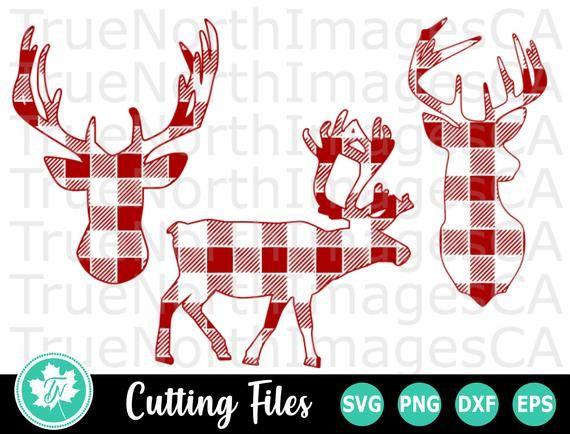 Reindeer Svg Deer Svg Deer Clipart Deer Head Svg Plaid Deer Svg Svg Files For Cricut Sil Deer Stencil Deer Head Silhouette Svg