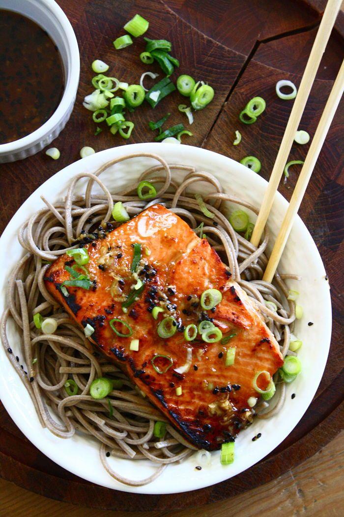 Sesame ginger salmon with soba noodles