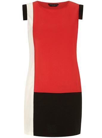 Red colour block shift dress