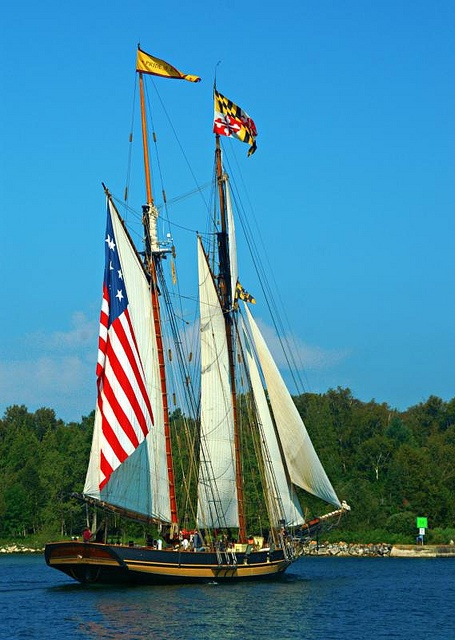 Patriotic Tall Ships coming through Sturgeon Bay, the Pride of Baltimore II.