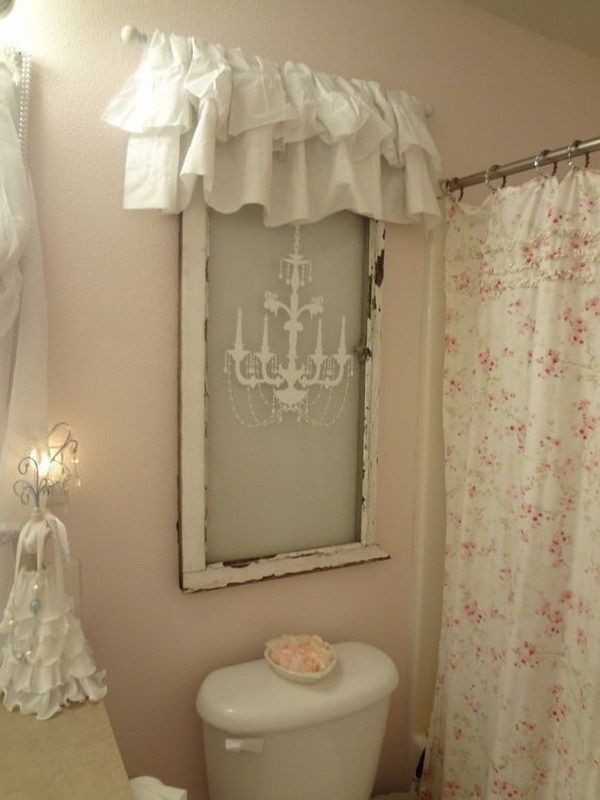 Shabby Chic Window Treatment for Bathroom Decor.
