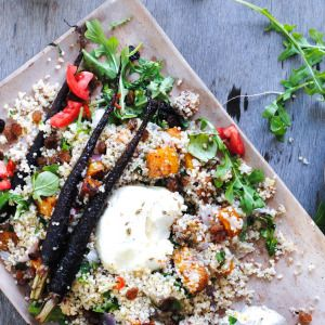 I Quit Sugar - Spiced Quinoa Salad with Roasted Vegetables + Labna