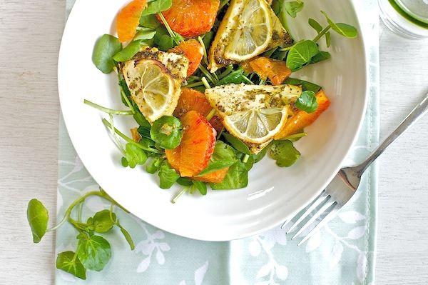 Post image for Baked lemon tofu double citrus salad
