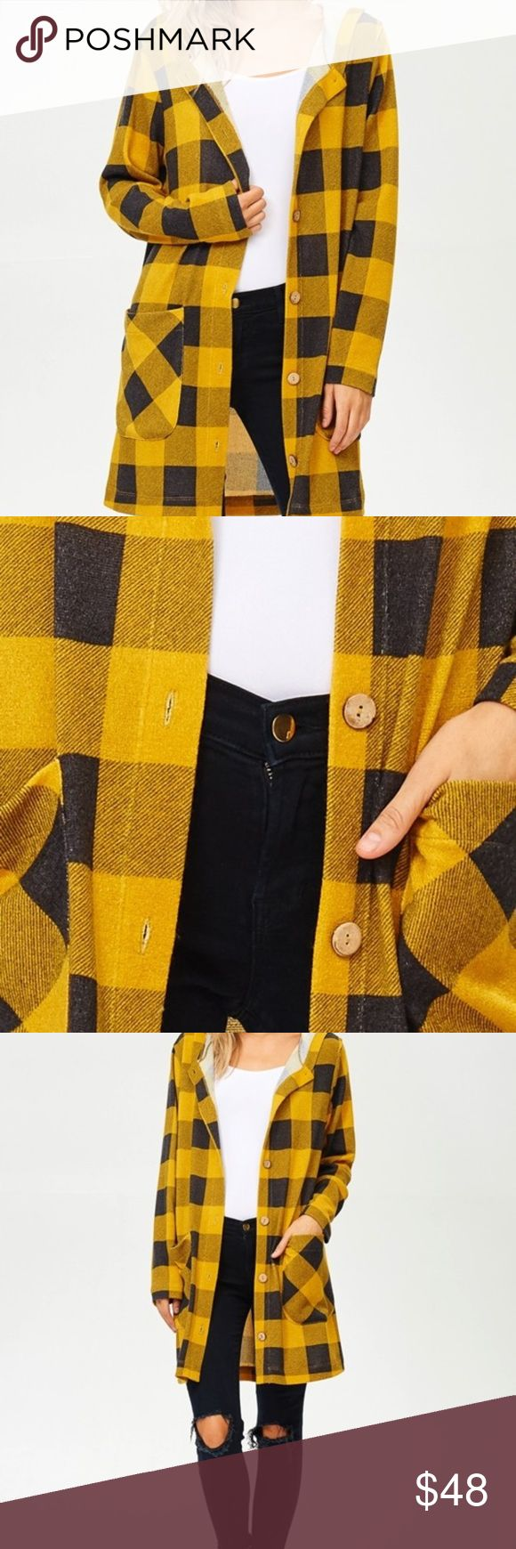 Ladies Mustard Black Buffalo Plaid Hoodie Cardigan Ladies buffalo plaid button-up sweater hoodie cardigan with front pockets Makes a great layering piece! 94% Polyester 6% Spandex Hailey & Co Jackets & Coats