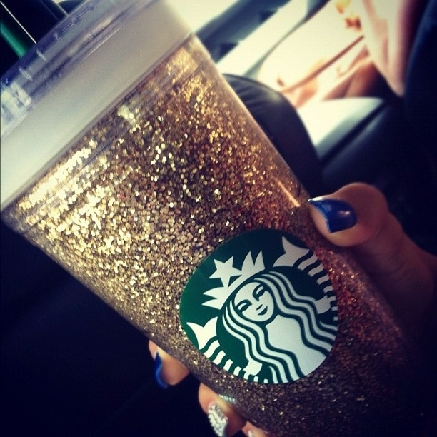 Glitter Starbucks cup! Spray glue inside, dump glitter into it, shake, seal it, wash it, love it!