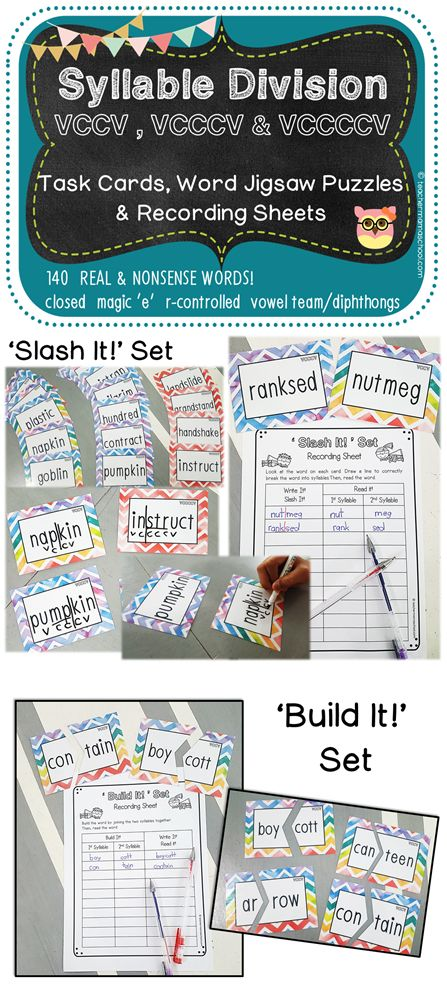 syllables center | task cards | VCCV | This pack of syllables center task cards consists of 2 sets – 'Cut It!' Set and 'Build It!' Set. | The word cards are suitable for small-group teaching or as a learning center activity. It is advisable to revise the syllable types, VCCV syllable pattern (including VCCCV and VCCCCV) and syllable division rules prior to using this pack with your pupils.