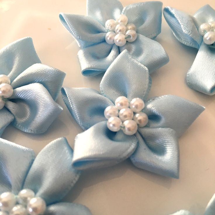 10, satin ribbon flowers, pearl ribbon flowers, blue ribbon flowers, blue ribbon rosettes, satin ribbon rosettes, sewing appliques, craft by Buttonsheduk on Etsy
