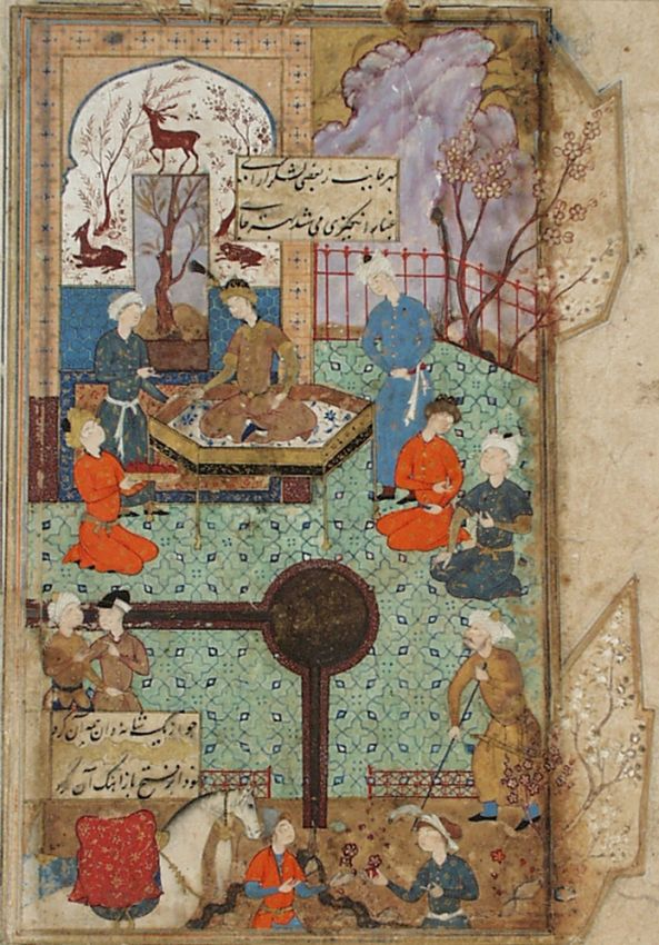 A King Enthroned in a Garden Pavilion, Page from a Manuscript of the Haft Awrang (Seven Thrones) of Jami | LACMA Collections
