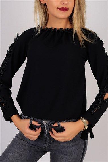 Yaprak Desenli Siyah Bayan Bluz 5709B