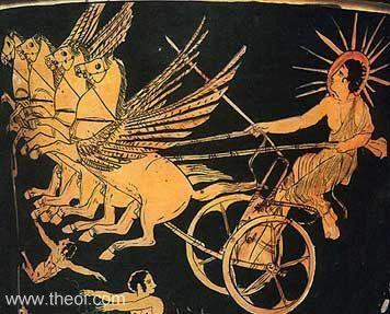 Helius, god of the sun | Athenian red figure krater C5th B.C. | British Museum, London
