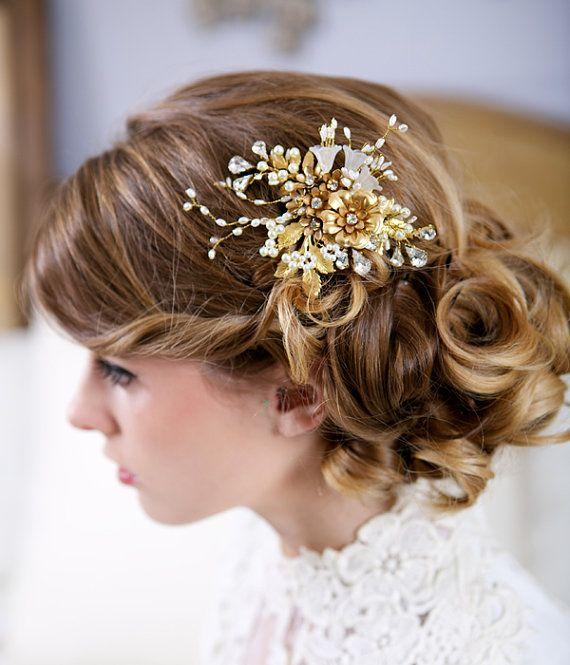 Wedding Flower Headpiece Pearl Flower Bridal Hair by GildedShadows, $168.00
