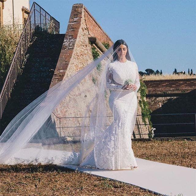 Image Credit Instagram Com Kimkardashian The Wedding Kim Kardashian West On Her Kim Kardashian Wedding Dress Celebrity Wedding Dresses Kardashian Wedding