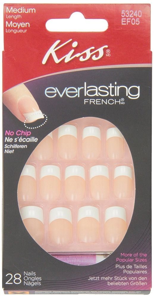 Kiss French Acrylic Nail Kit Infinite Everlasting French 28 Piece Gloss Finish  #KissProductsInc
