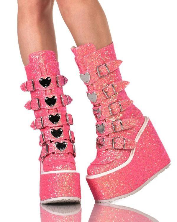 Womens Shoes Demonia Heart Buckle Pink Glitter Platform Boots Front Platform Boots Demonia Shoes Boots