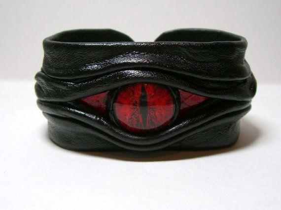 Evil eye, snake eye, dragon eye adjustable black leather bracelet cuff with red snake skin  Halloween leather bracelet.